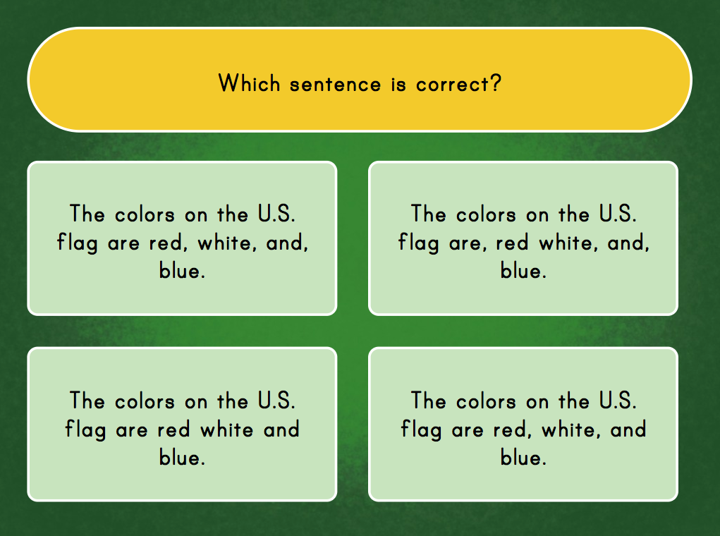 2nd grade Reading & Writing Games: Using Commas in a Series: Quiz