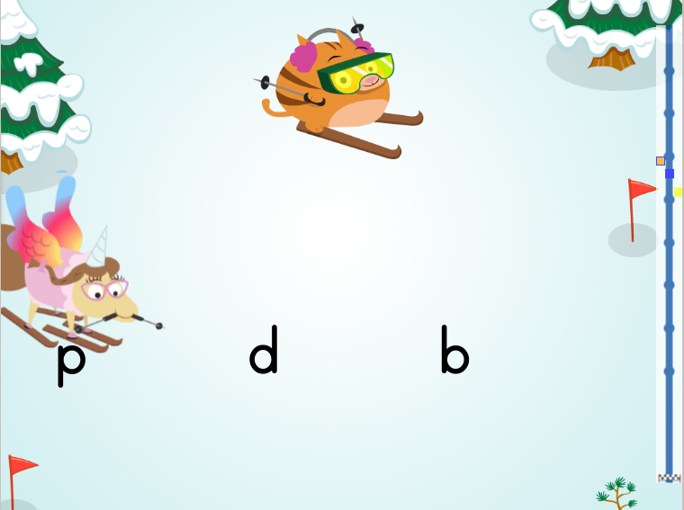 Kindergarten Reading & Writing Games: Tricky Lowercase Letters Ski Race