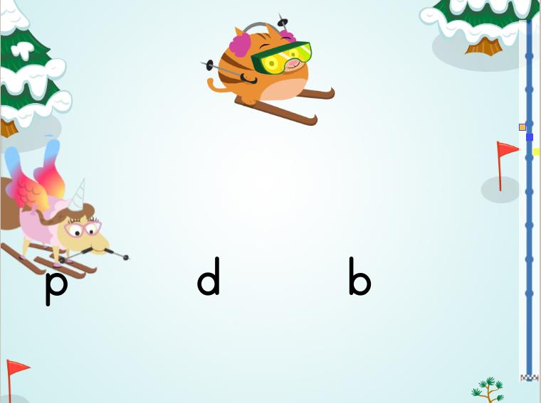 Kindergarten Reading & Writing Games: Tricky Lowercase Letters Ski Race