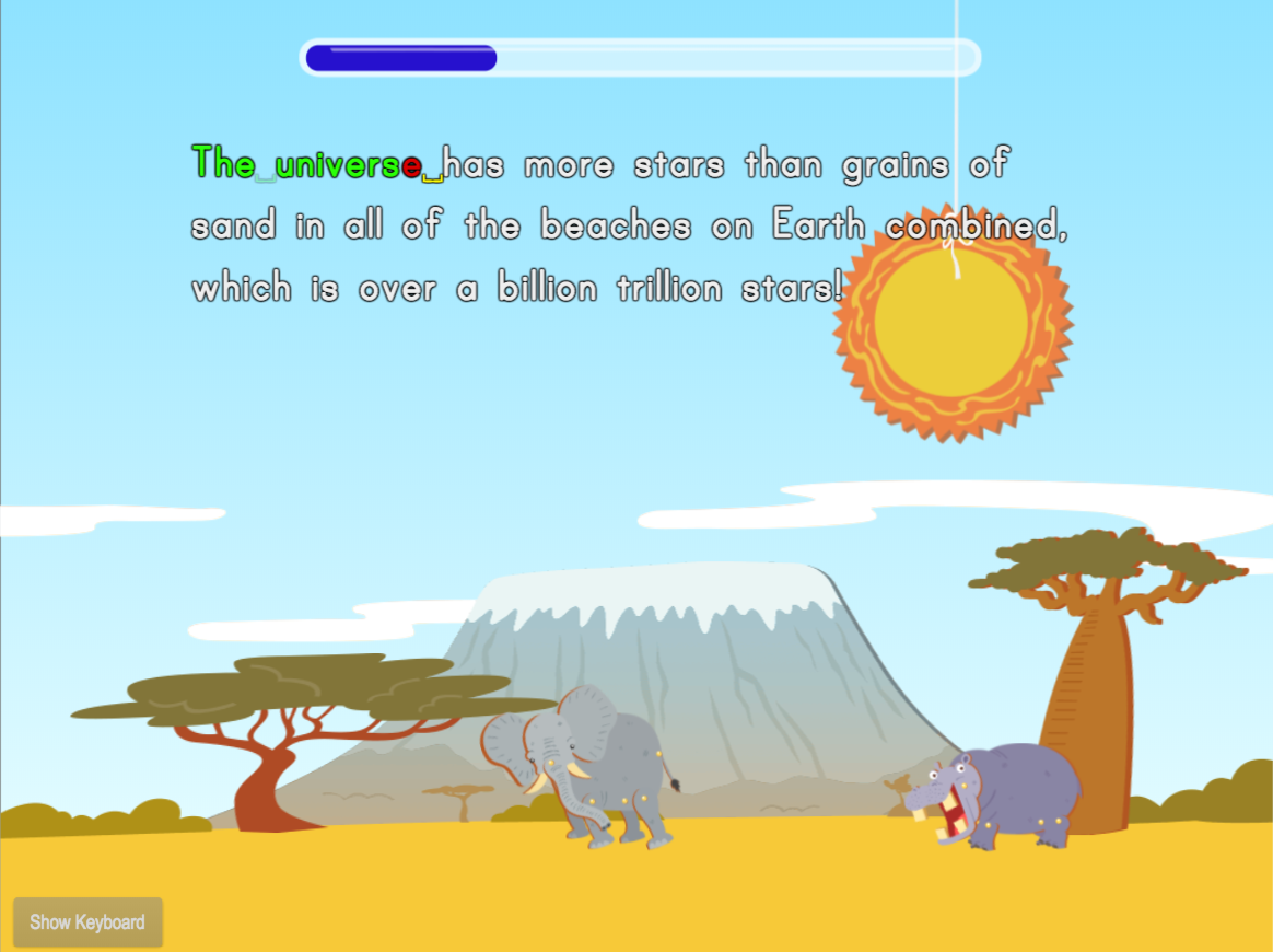 2nd grade Typing Games: Typing Sentences for Accuracy: Cosmological Questions Savanna