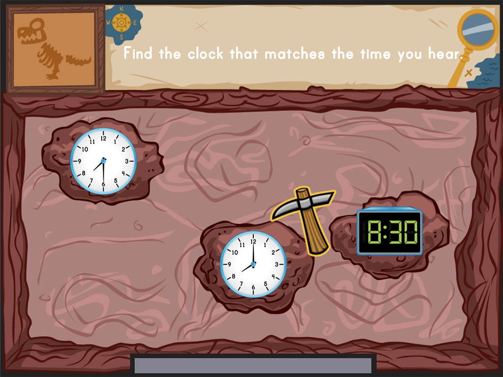 1st grade Math Games: Dino Bones: Telling Time to the Hour