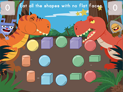 Dino Crunch: Attributes of 2D and 3D Shapes