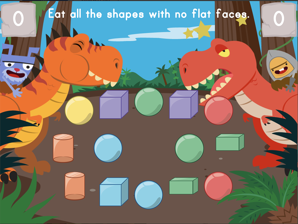 1st grade Math Games:  Dino Crunch: Attributes of 2D and 3D Shapes