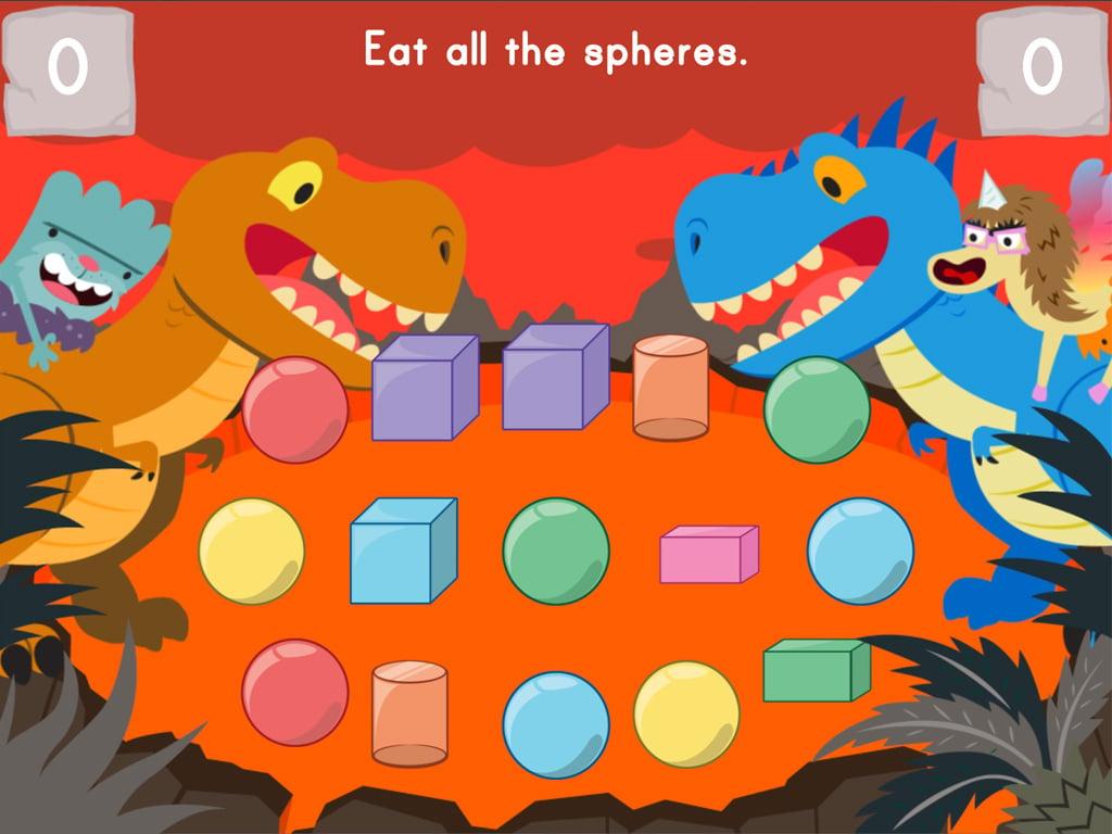 Kindergarten Math Games: Dino Crunch: 3D Shapes
