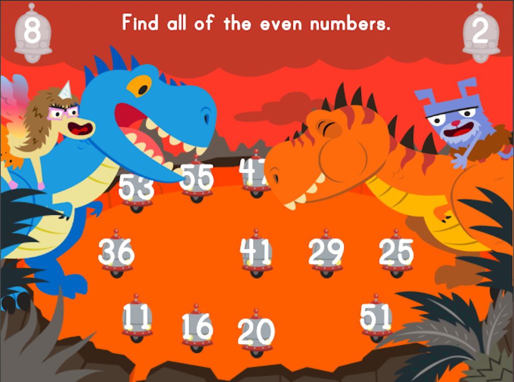 2nd grade Math Games: Dino Crunch: Even or Odd?