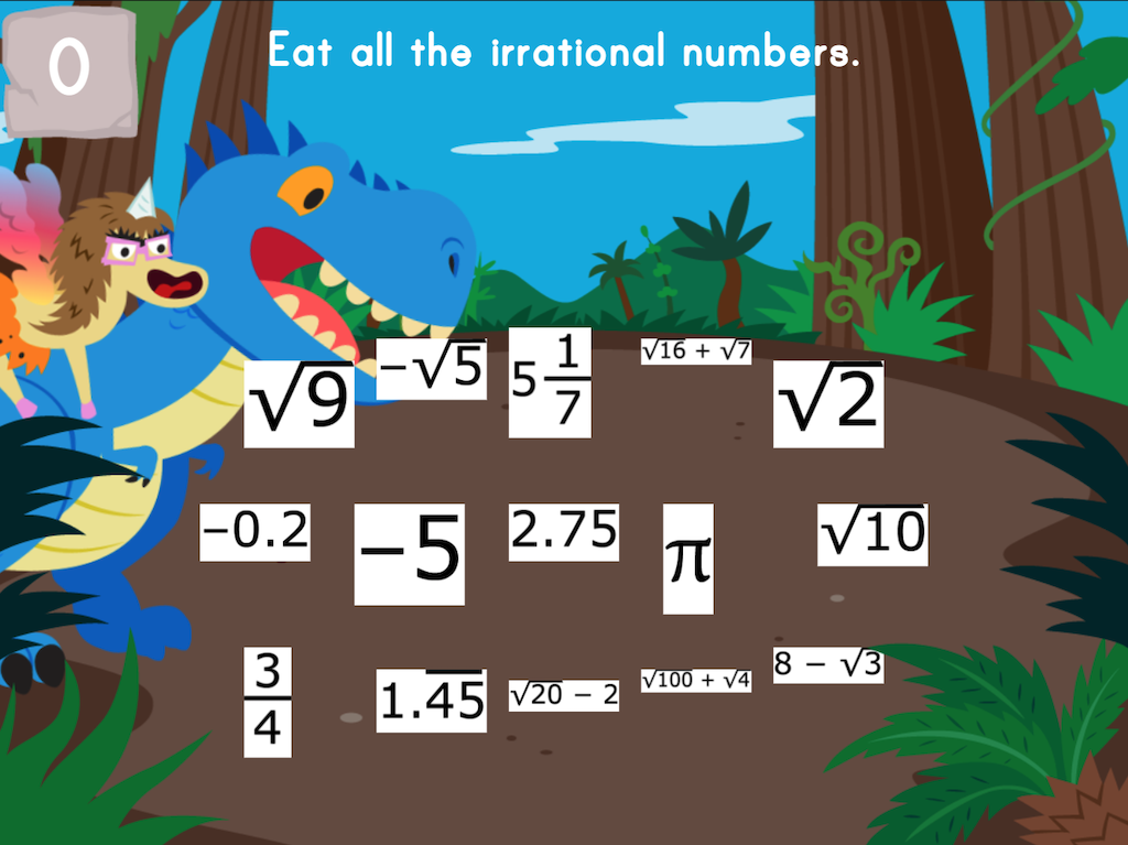 8th grade Math Games: Dino Crunch: Irrational Numbers