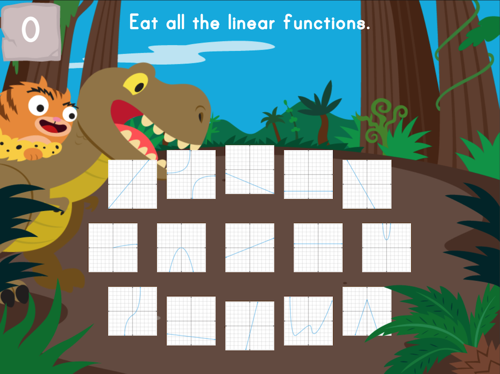 8th grade Math Games: Dino Crunch: Linear vs. Nonlinear Graphs and Equations