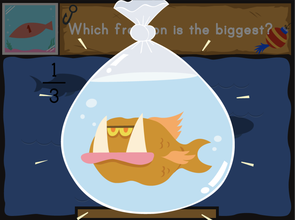 3rd grade Math Games: Dino Fishing: Which Fraction Is the Biggest?