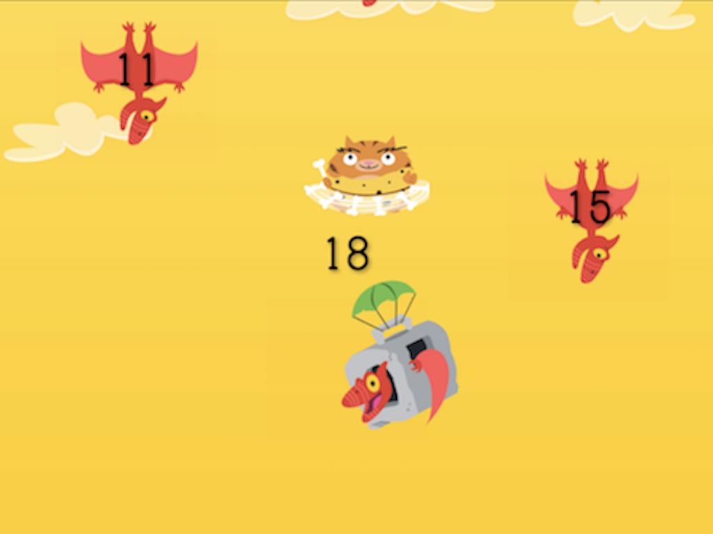4th grade Math Games: Dino Pet Drop: Identifying Multiples (Game 1)