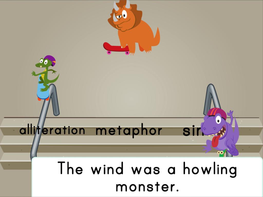 6th grade Reading & Writing Games: Dino Skateboarding: Figurative Language (Game 1)