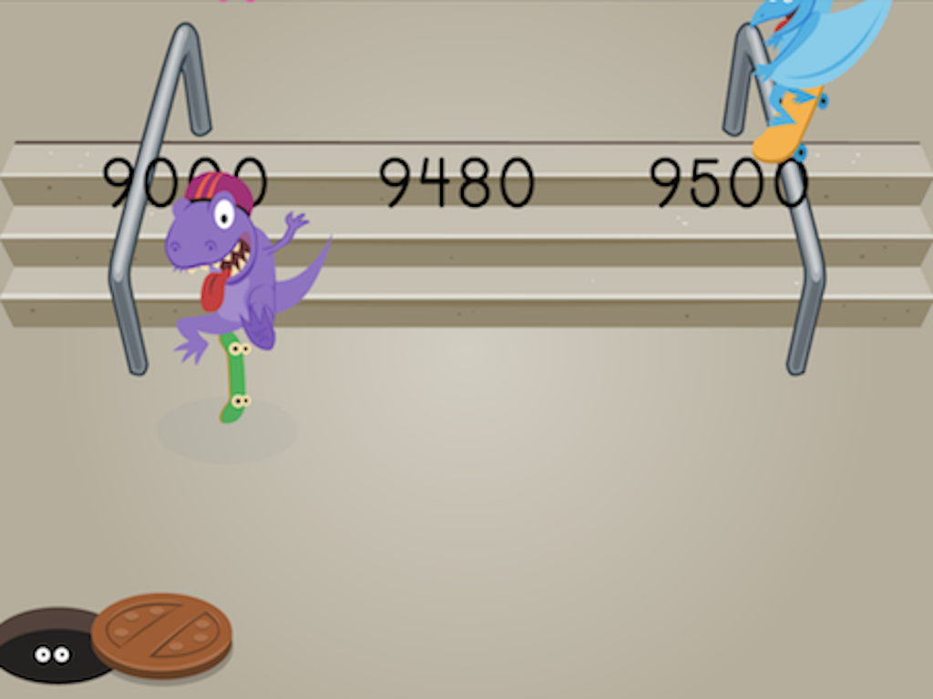 4th grade Math Games: Dino Skateboarding: Rounding Multi-Digit Numbers to the Nearest Thousand