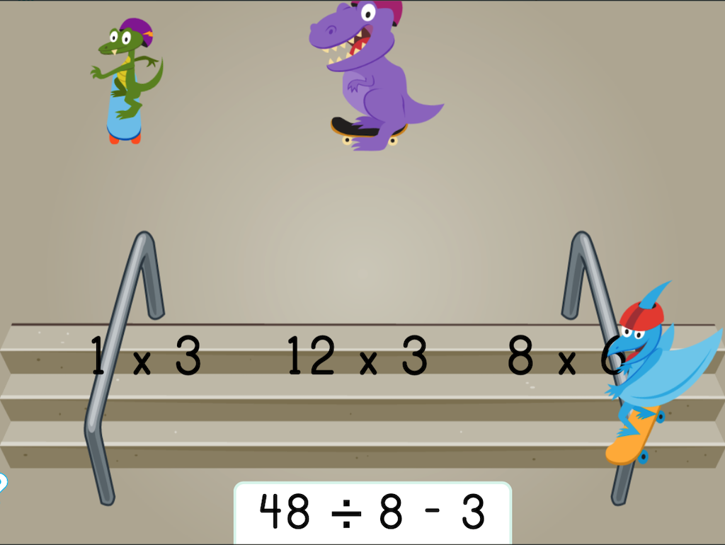 5th grade Math Games: Dino Skateboarding: Which Expressions Have the Same Product?