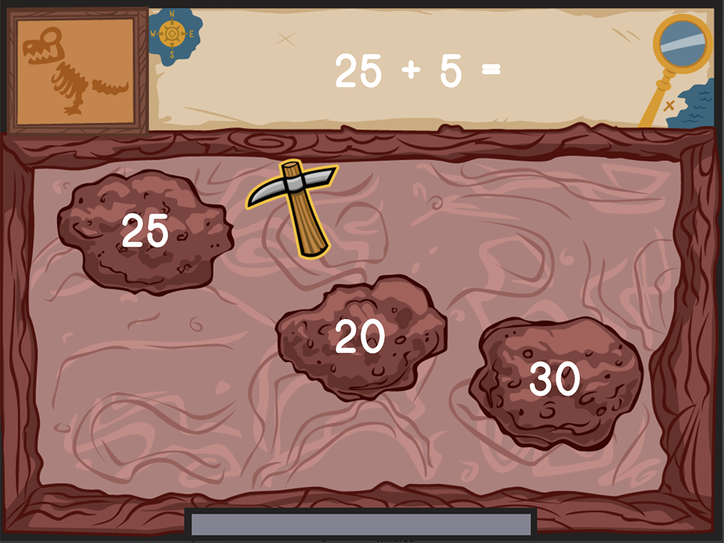 1st grade Math Games: Dino Bones: Two-Digit Addition Within 100