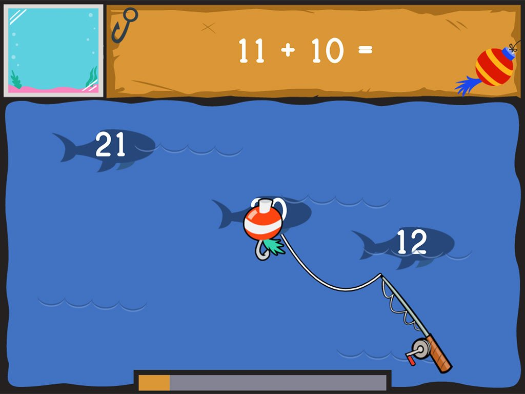 1st grade Math Games: Dino Fishing: Two-Digit Addition and Finding 10 More