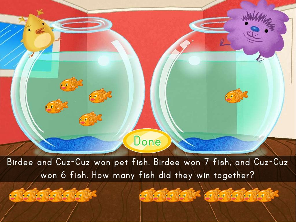1st grade Math Games: Fish Bowl Addition