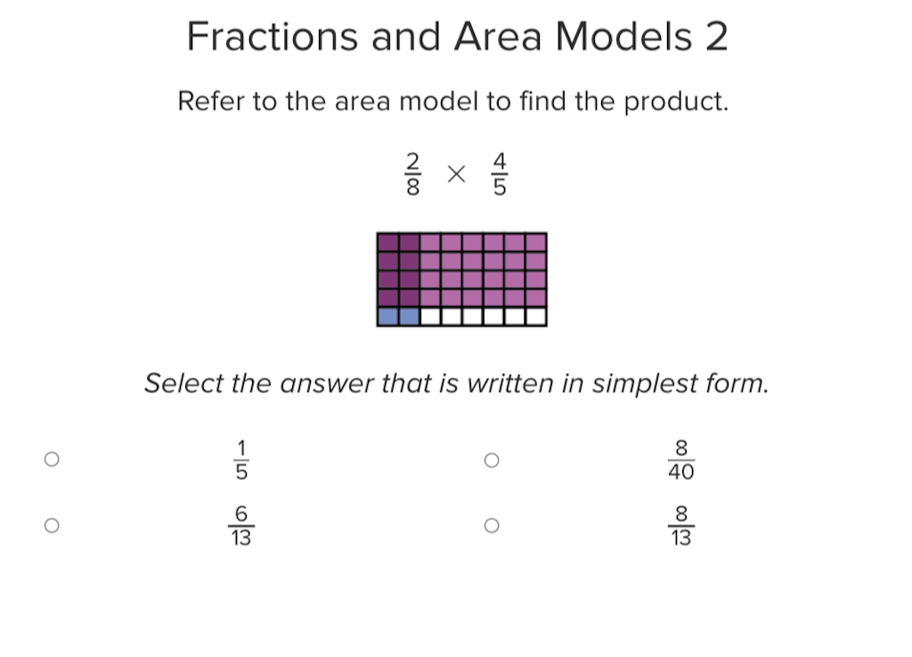 5th grade Math Exercises: Fractions and Area Models 2