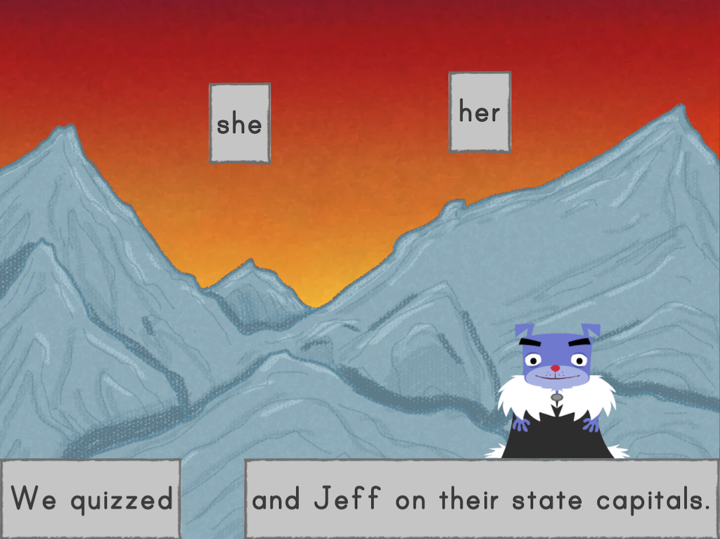 6th grade Reading & Writing Games: Game of Bones: Pronouns in Compound Subjects and Objects