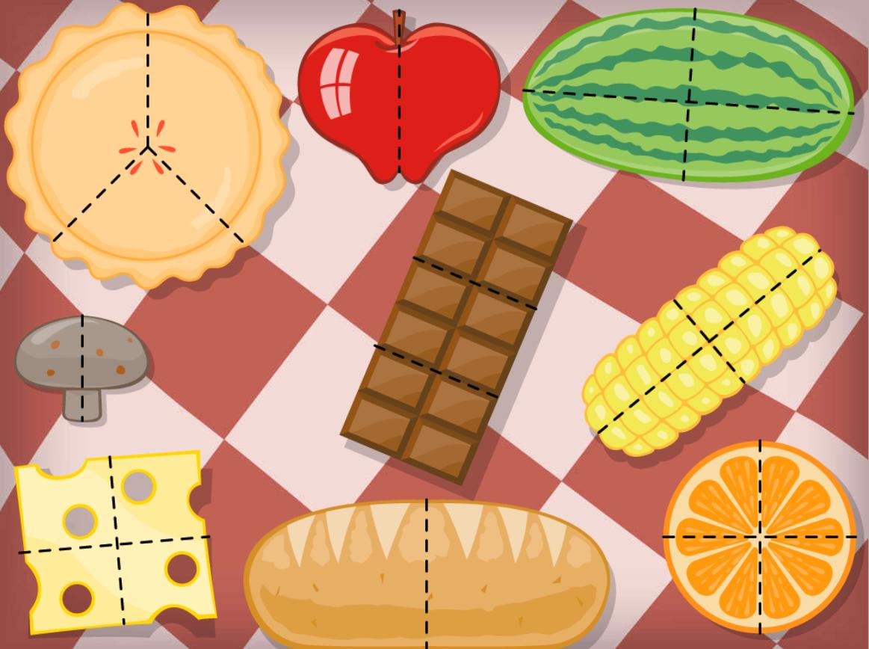 2nd grade Math Games: Geometry Picnic: Halves, Thirds, Quarters