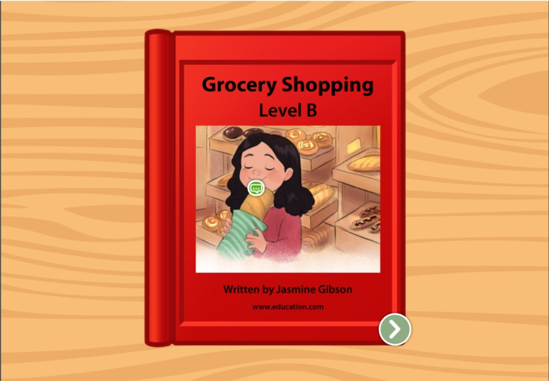 kindergarten Reading & Writing Stories: Grocery Shopping: Level B