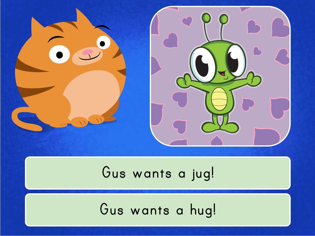 1st grade Reading & Writing Games: Gus the Bug Quiz