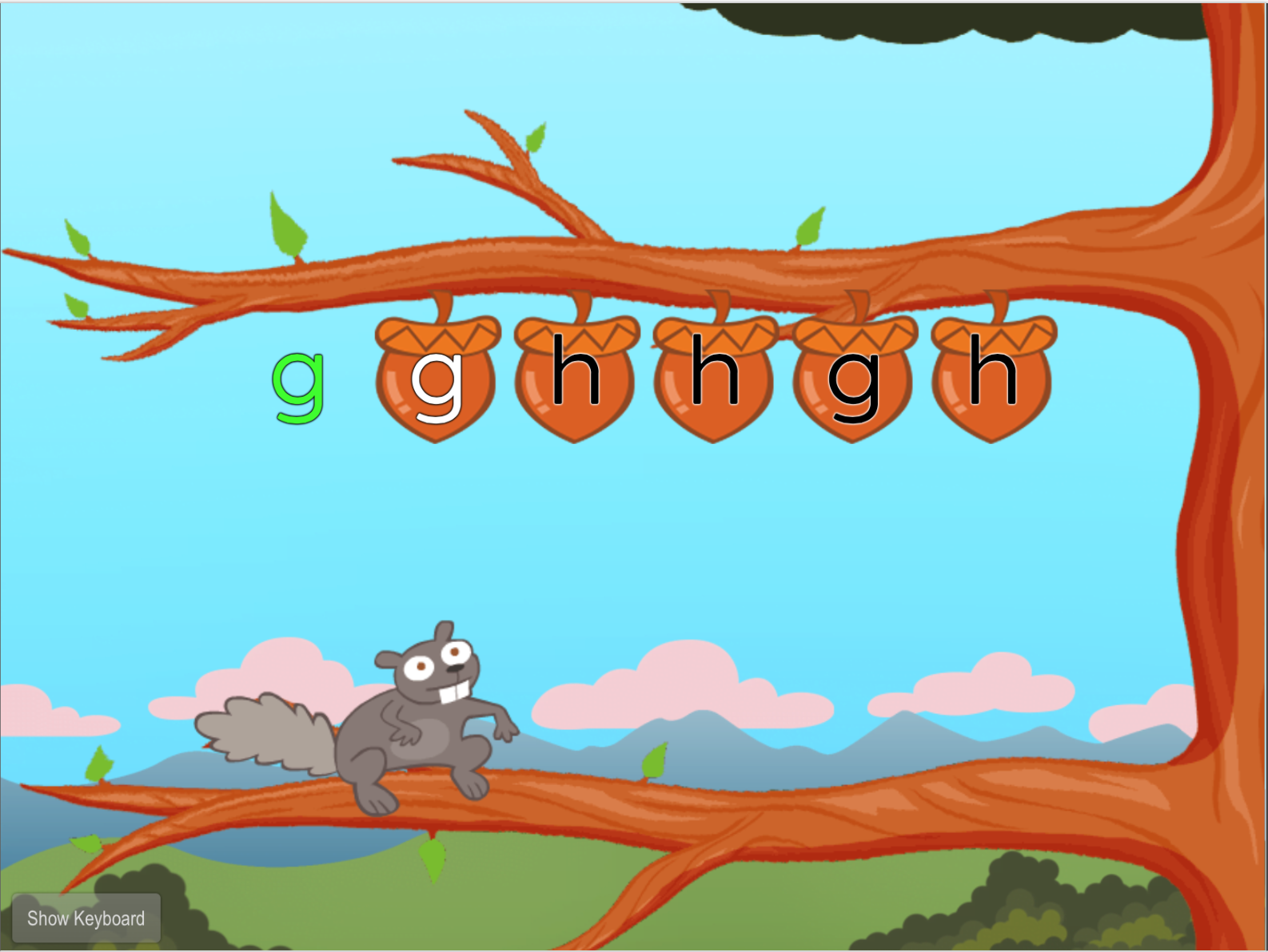 1st grade Typing Games: Home Row Typing: G and H with Squirrel