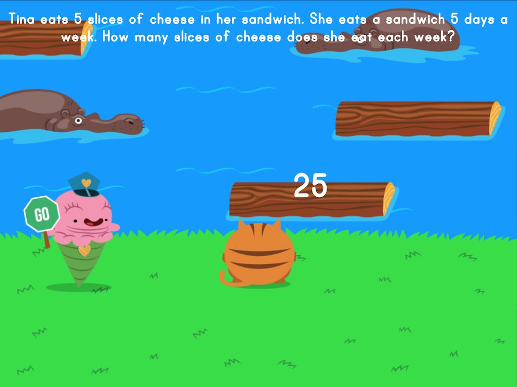 3rd grade Math Games: Jumpy: Multiplication Word Problems