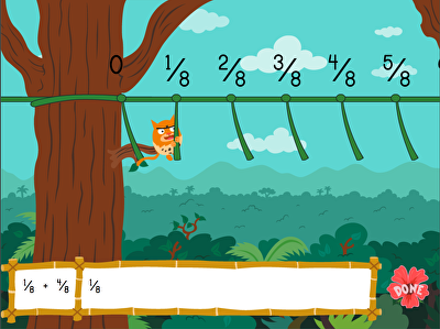 Adding Fractions with Like Denominators: Jungle Edition