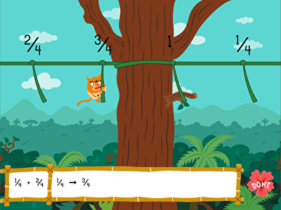 Jungle Fractions on a Number Line