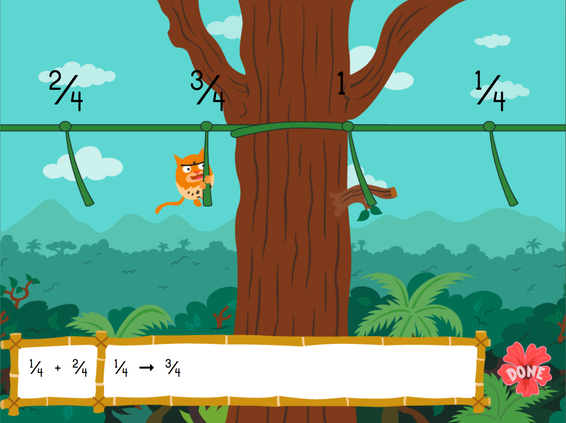 3rd grade Math Games: Jungle Fractions on a Number Line