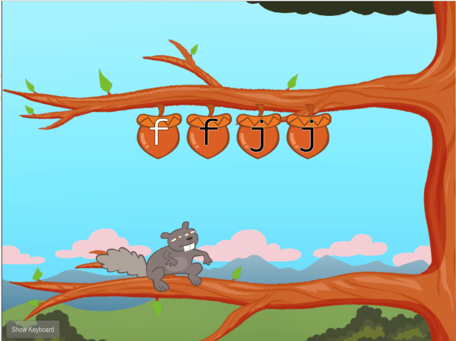1st grade Typing Games: Home Row Typing: F and J with Squirrel