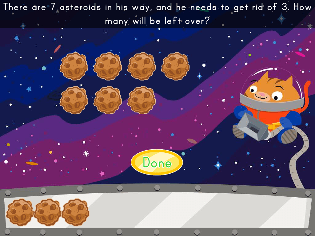 1st grade Math Games: Asteroid Subtraction