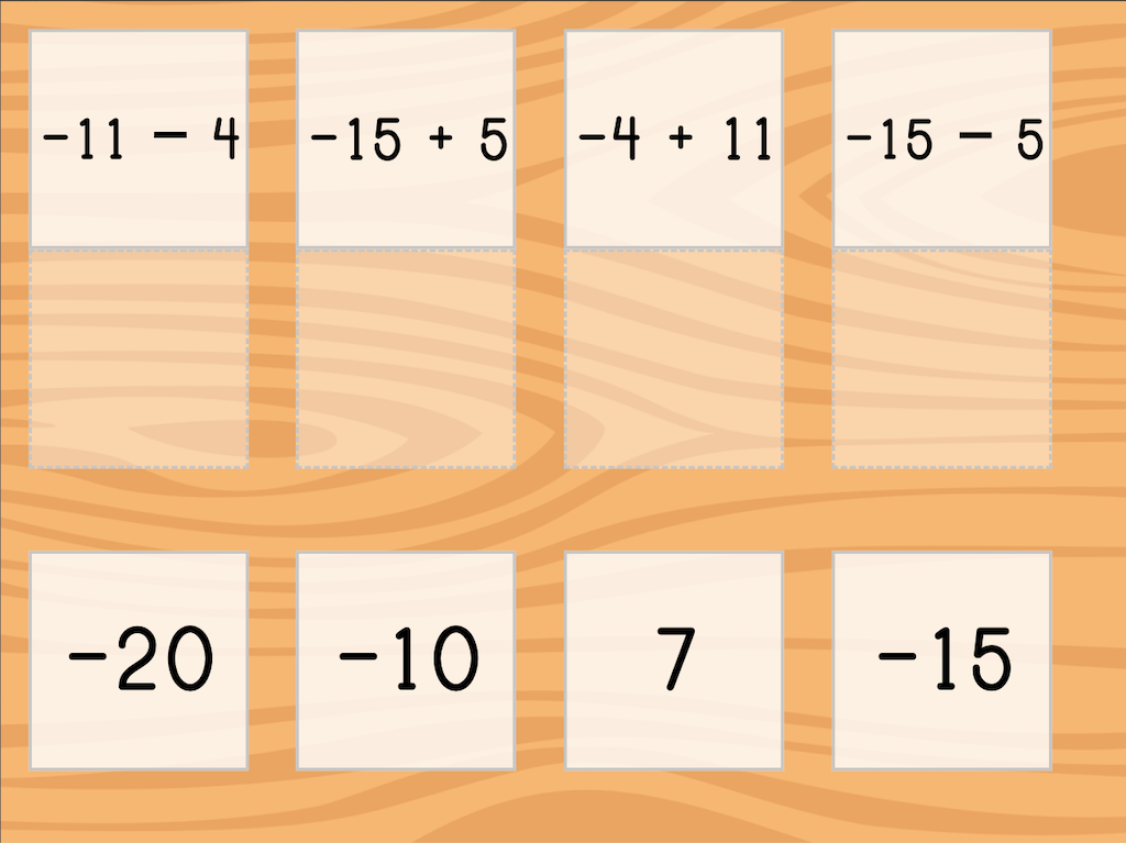 7th grade Math Games: Match: Add and Subtract Integers