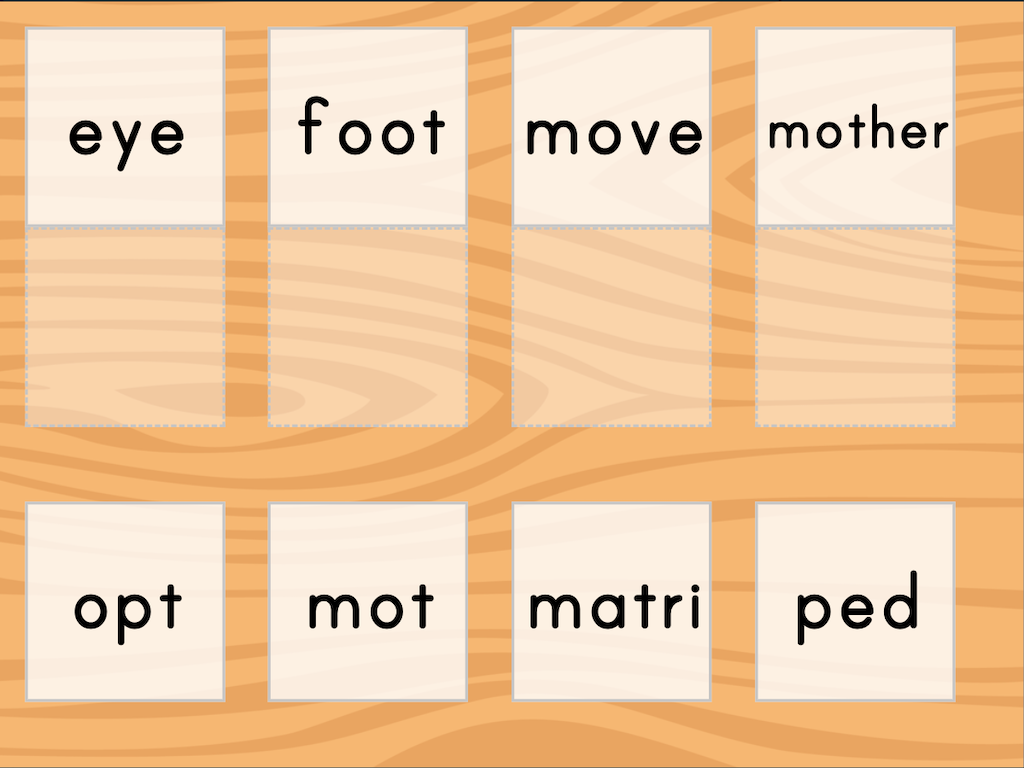 7th grade Reading & Writing Games: Match: Meaning of Root Words