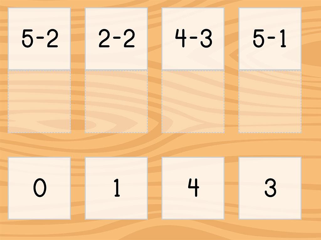 Kindergarten Math Games: Match: Subtraction Facts Within 5