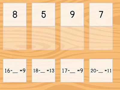 Match: Subtraction Within 20 and Missing Factors