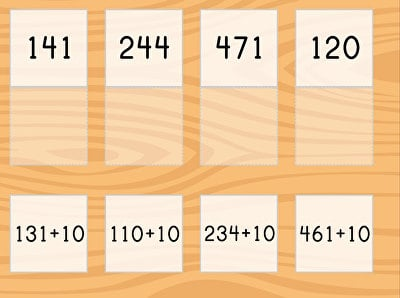 Match: Three-Digit Addition and Finding 10 More