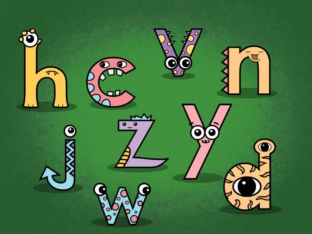 Kindergarten Reading & Writing Games: Monster Letters: NDHJCWVYZ