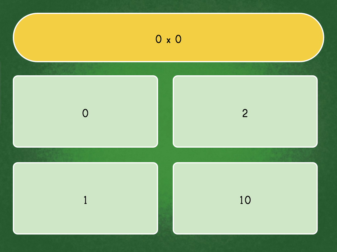 3rd grade Math Games: Multiply by 0 Quiz