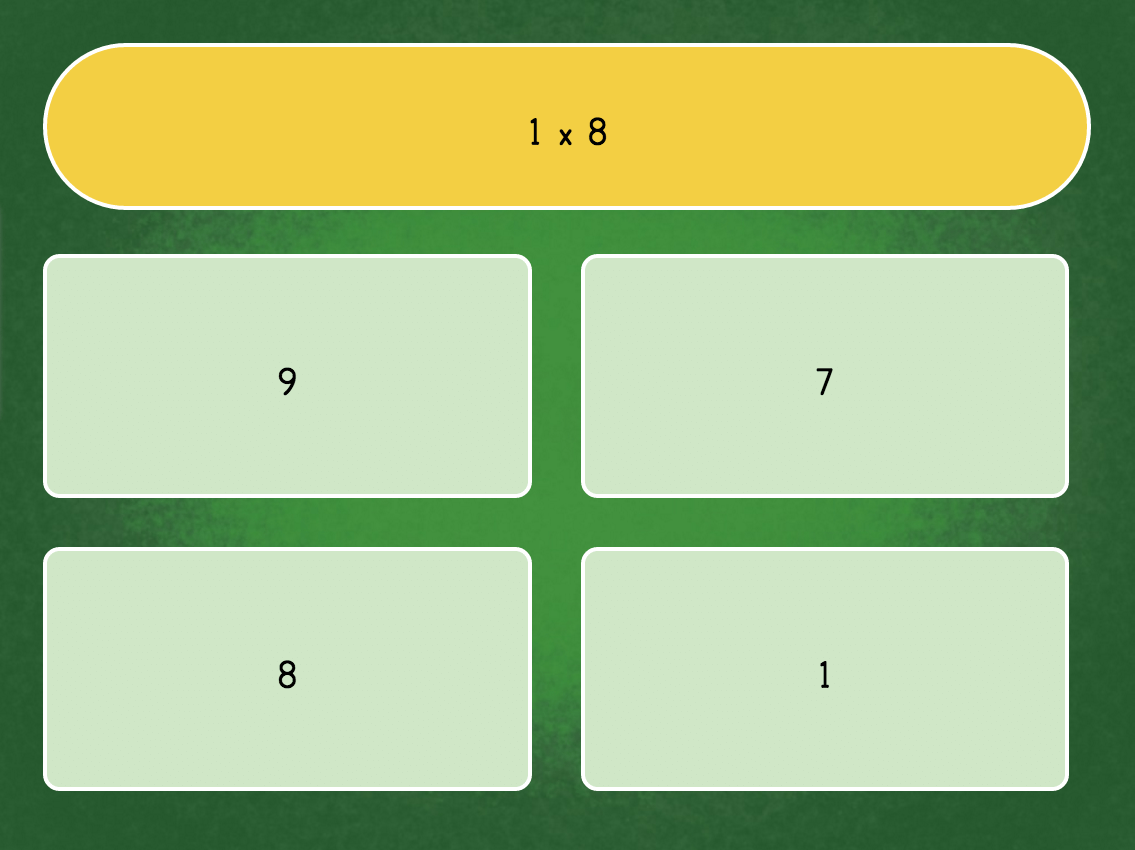 3rd grade Math Games: Multiply by 1: Quiz