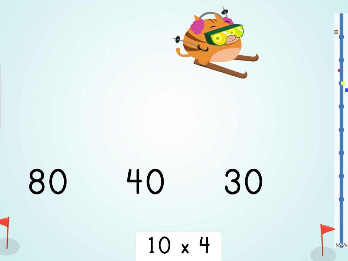 3rd grade Math Games: Multiply by 10: Ski Racer