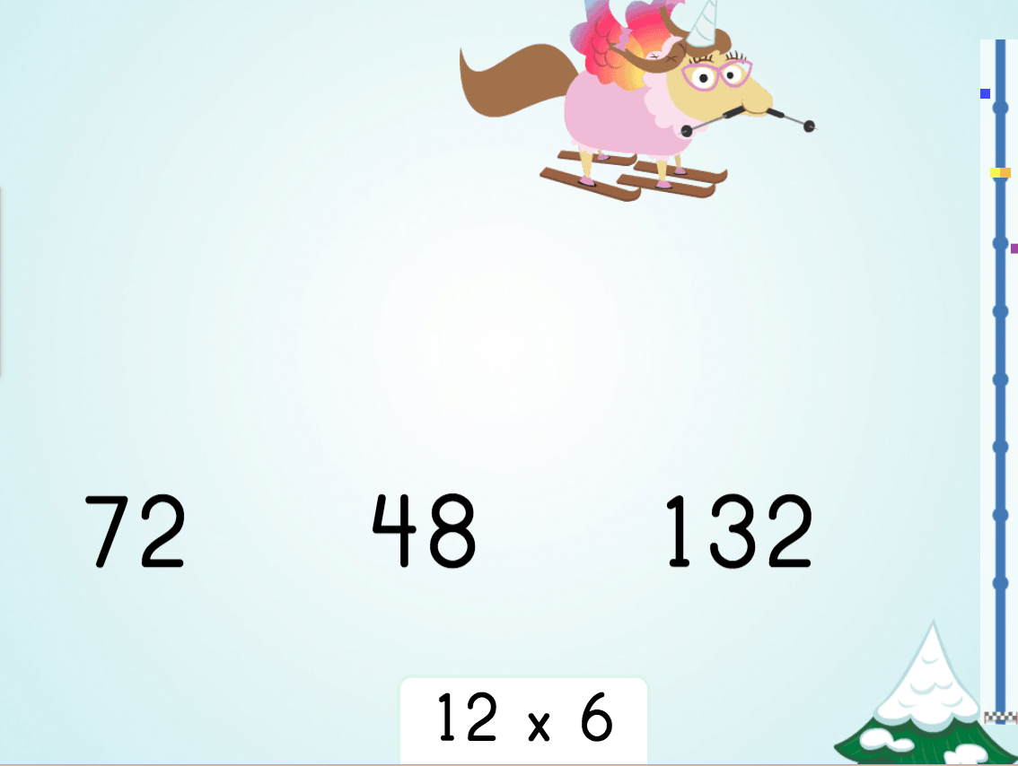 3rd grade Math Games: Multiply by 12 Ski Racer