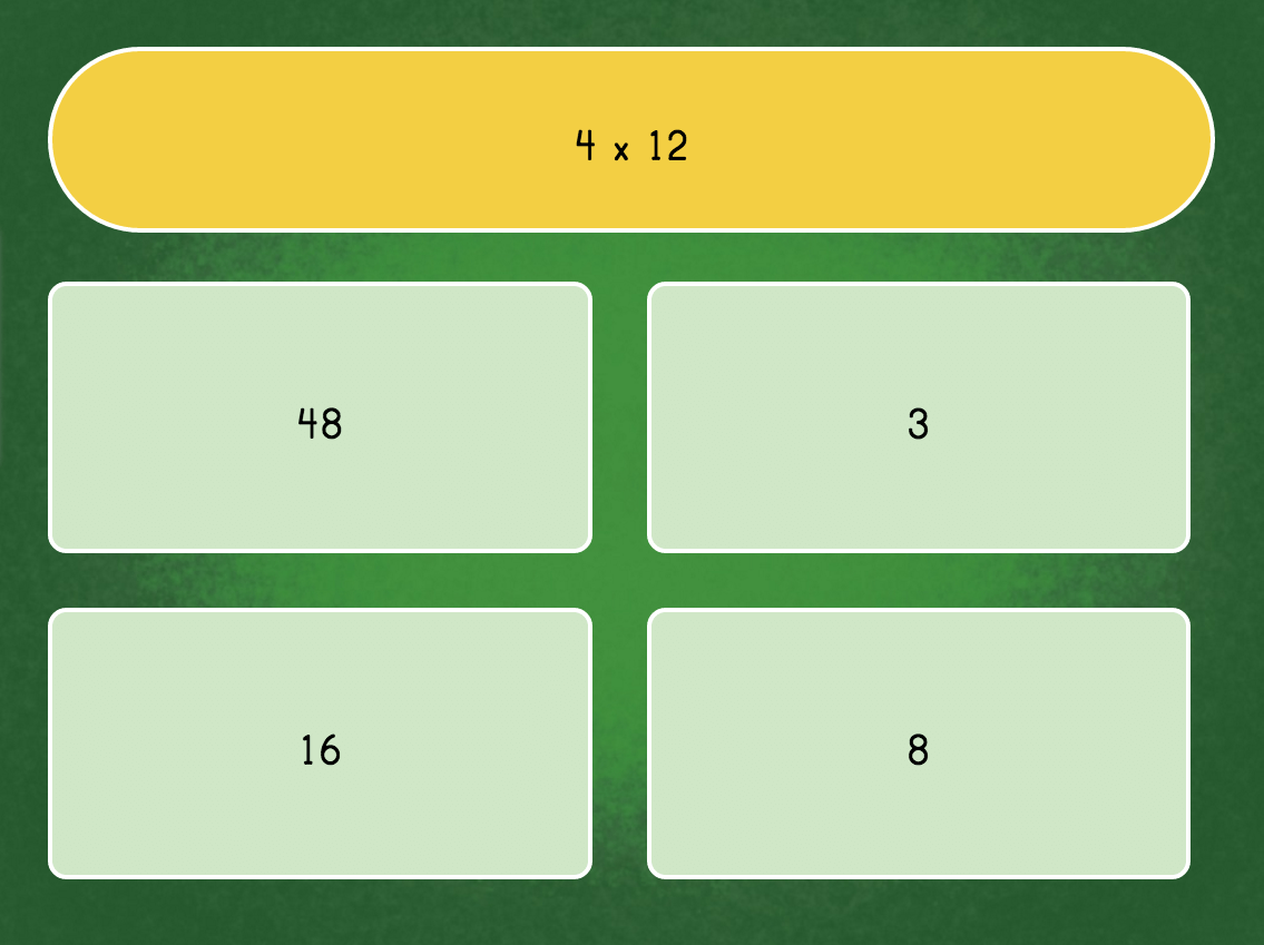 3rd grade Math Games: Multiply by 4: Quiz