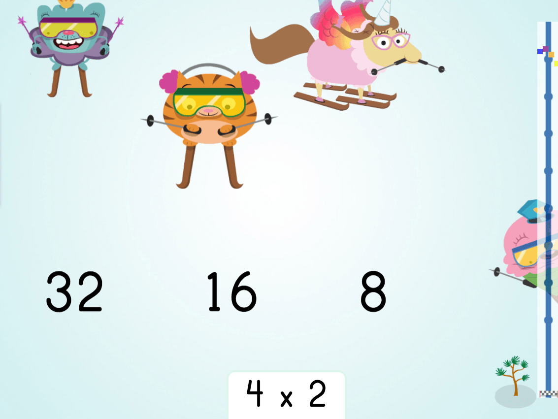 3rd grade Math Games: Multiply by 4: Ski Racer