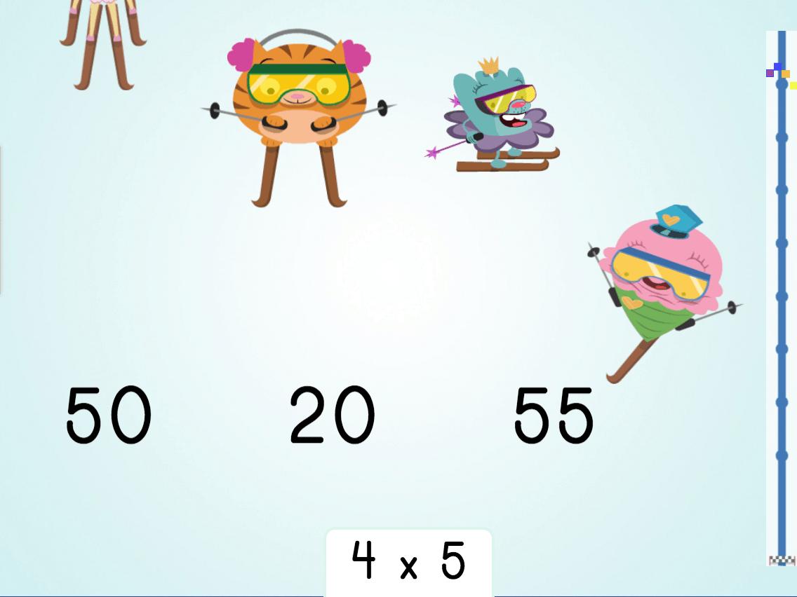 3rd grade Math Games: Multiply by 5: Ski Racer