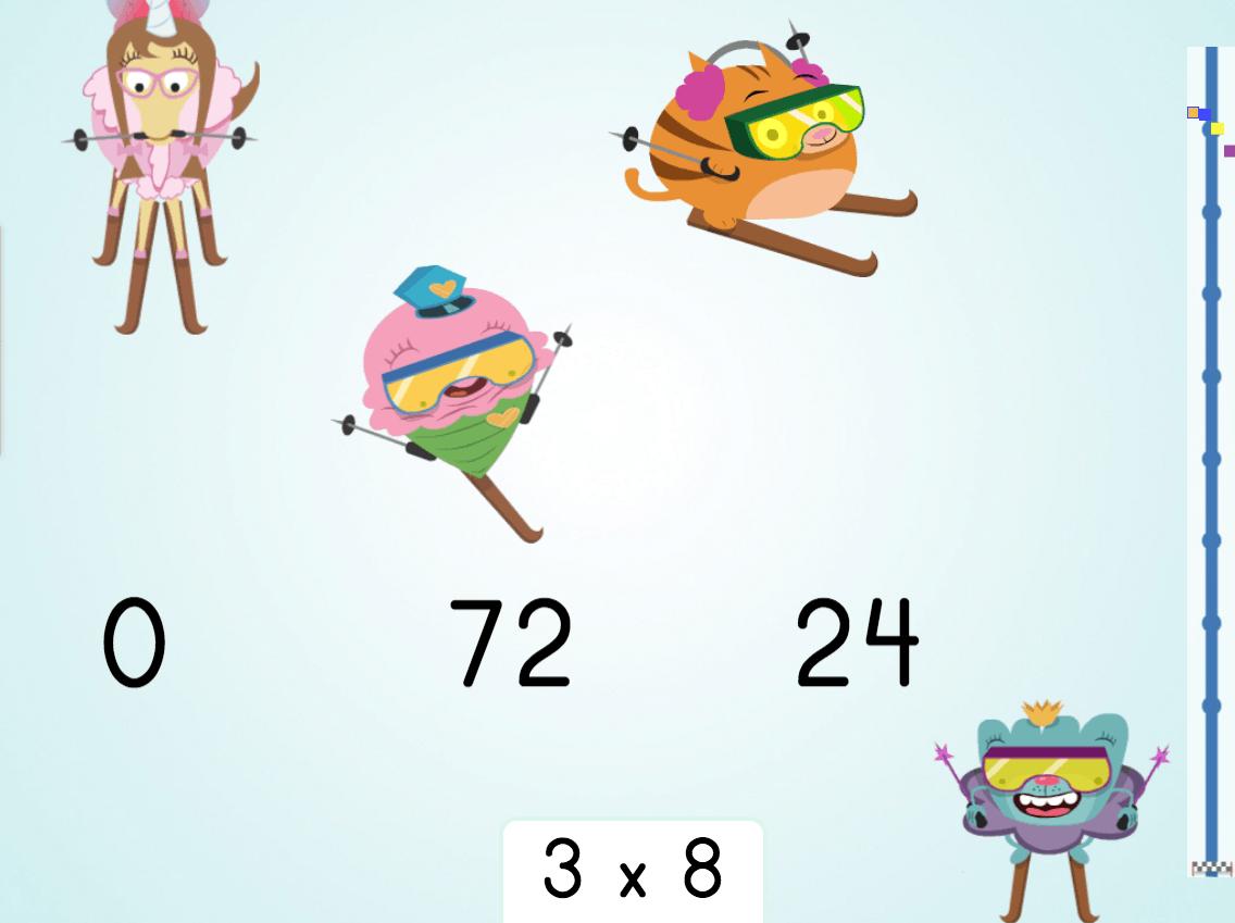 3rd grade Math Games: Multiply by 8: Ski Racer
