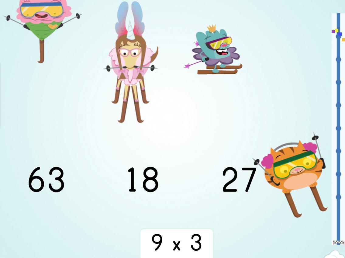 3rd grade Math Games: Multiply by 9: Ski Racer