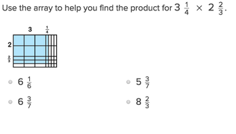 5th grade Math Exercises: Mixed Number Fractions and Arrays