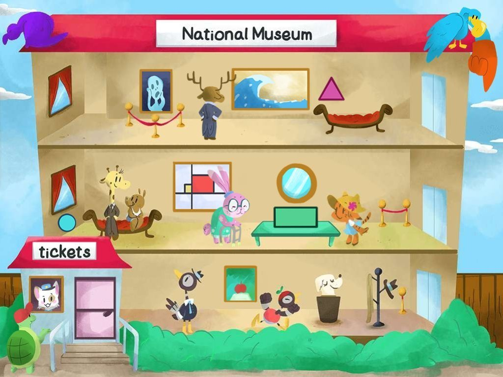 Preschool Math Games: Museum Spot the Shapes
