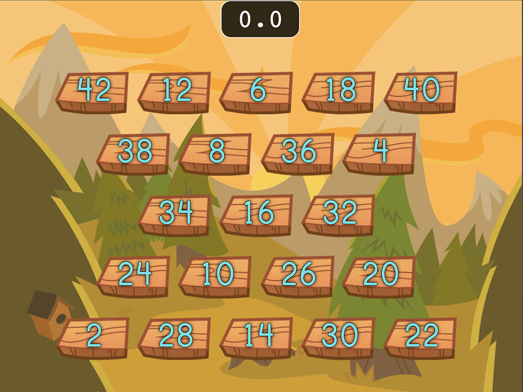 1st grade Math Games: Number Chop: Skip Counting by 2 (Game 1)