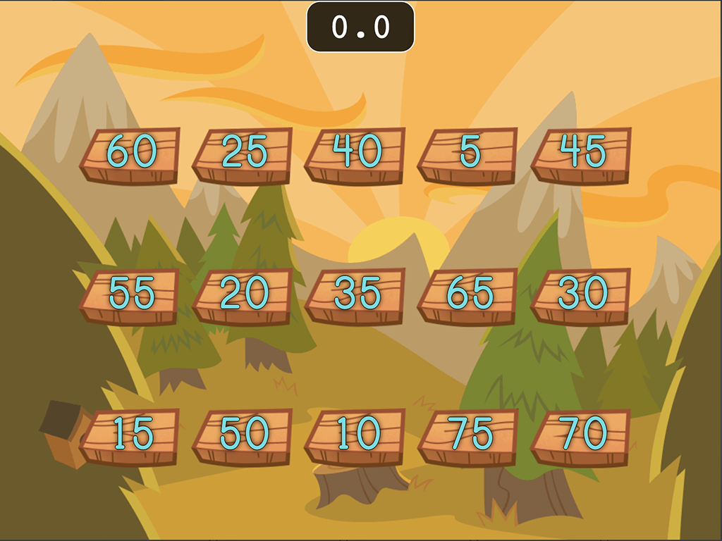 1st grade Math Games: Number Chop: Skip Counting by 5 (Game 2)